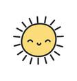 funny sun weather cartoon icon vector image vector image