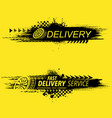 grunge yellow delivery tire track banners vector image