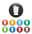 hand four icons set color vector image vector image