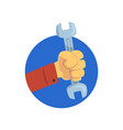 hand holding a spanner technical service repairs vector image vector image