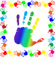 handprints border with big rainbow palm in center vector image