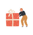 happy person holding huge gift box woman carrying vector image vector image