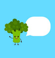 happy smilling cute broccoli with speech bubble vector image