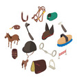 horse sport equipment icons set isometric style vector image