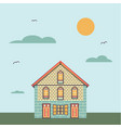 house with cloud sky and sun on background vector image