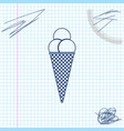 ice cream in waffle cone line sketch icon isolated vector image vector image