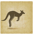 jumping kangaroo silhouette on vintage background vector image