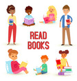 kids reading books and enjoying literature vector image