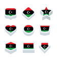 libya flags icons and button set nine styles vector image vector image