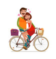 loving couple riding on picnic bicycle cartoon vector image