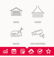 mailbox video monitoring and garage icons vector image vector image