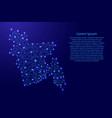 Map of bangladesh from polygonal blue lines