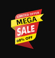 mega sale banner black background vector image vector image