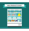 Milk products shop stall with vector image