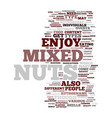 mixed nuts text background word cloud concept vector image vector image