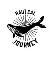 nautical journey emblem template with whale vector image vector image