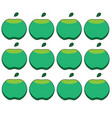pattern of green apples on a white background vector image vector image