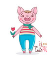 pig in a cartoon style holding a tulip in his hand vector image vector image