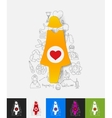 pregnant paper sticker with hand drawn elements vector image vector image