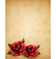 Retro background with beautiful red roses with vector image vector image