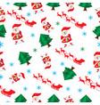 seamless pattern cartoon merry christmas santa vector image vector image