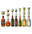 set glass and bottle whiskey wine tequila vector image vector image