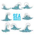 set sea waves design elements for poster card vector image