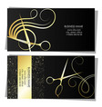 silhouette scissors and comb business card vector image vector image