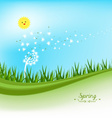 spring banners with dandelion and blue sky vector image vector image