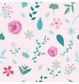 spring flowers and leaves seamless pattern vector image vector image