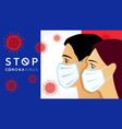stop coronavirus french people in medical mask vector image