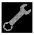 white halftone wrench icon vector image