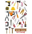 Work tools and equipment isolated icons vector image