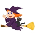 Young witch cartoon flying on on her broom vector image