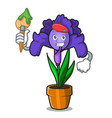 artist iris flower character cartoon vector image