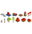 asian architecture isometric set vector image vector image