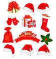 big set of red santa hats and clothing vector image vector image