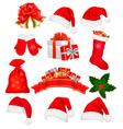 big set red santa hats and clothing vector image vector image