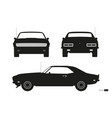 black silhouette retro car american automobile vector image