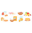 breakfast meal morning lunch drink and food vector image