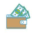 brown wallet with green dolars bills inside vector image vector image