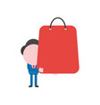businessman character holding shopping bag vector image
