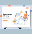 businessman working on desk concept modern flat vector image vector image