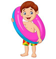 cartoon little boy with inflatable ring vector image