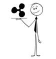 cartoon waiter or businessman holding salver vector image