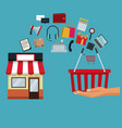 color background with store with awning and icons vector image vector image