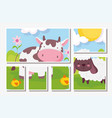 cow and sheep flowers meadow farm animals vector image vector image