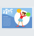 creative blue poster for kids club with happy vector image vector image
