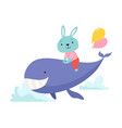 cute little bunny riding whale funny adorable vector image vector image