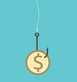 Dollar coin on hook vector image vector image